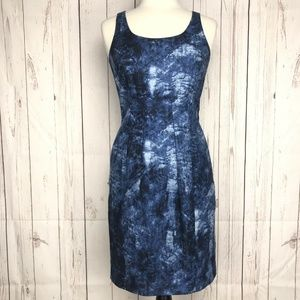 Michael Kors Abstract Print Sheath Dress Blue 4